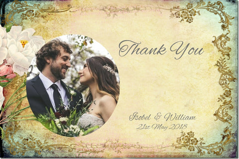 016 Flower Filigree Photo Thank You Cards