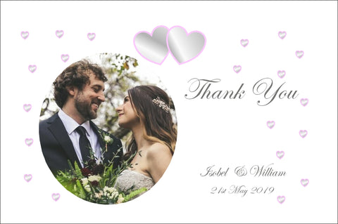 018 Grey and Pink Hearts Photo Thank You Cards