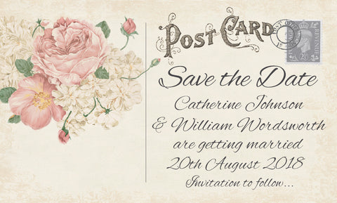 042 Ivory Postcard Save the Date Card