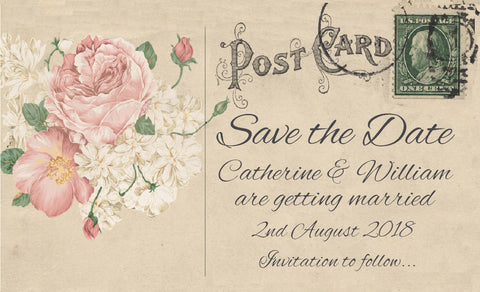 001 Bouquet Postcard Save the Date Magnet