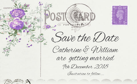 043 Lavender Postcard Save the Date Card