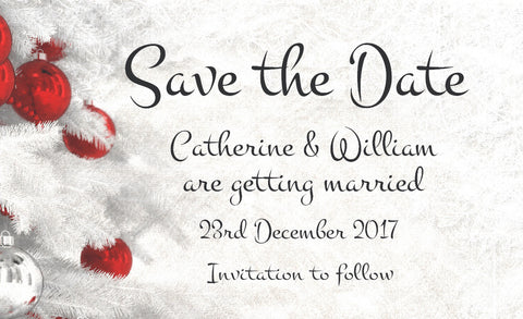 063 Red Baubles Save the Date Magnet