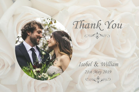 020 Ivory Roses Photo Thank You Cards