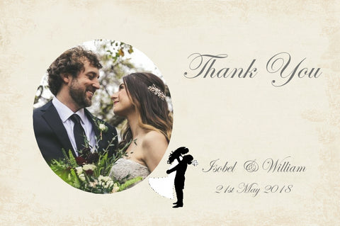027 Silhouette Script Photo Thank You Cards