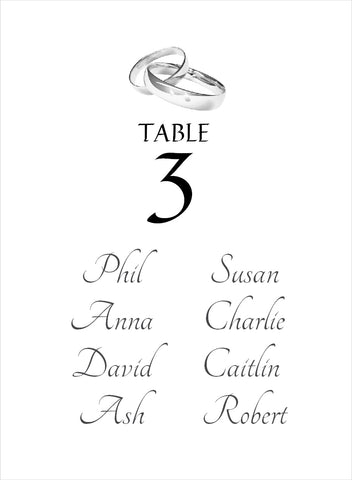 005 Two Rings Portrait Seating Plan Cards