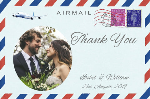 033 Airmail Photo Thank You Cards