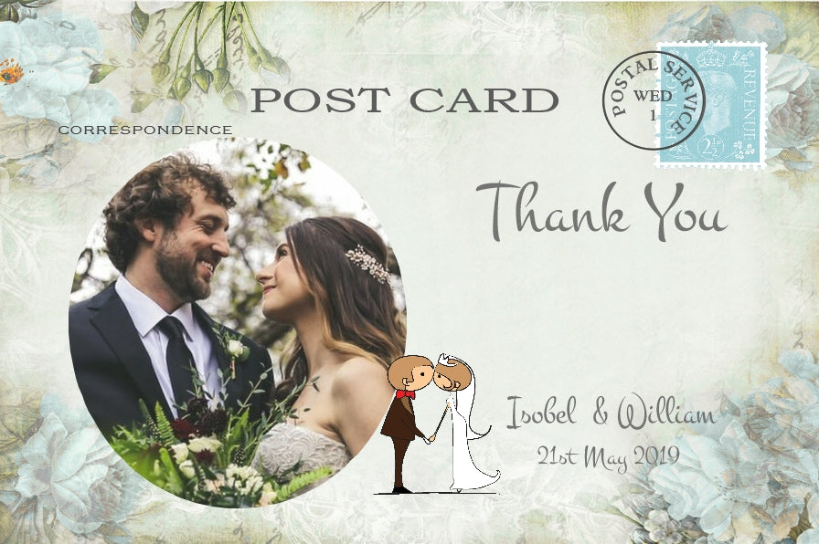 046 Kiss Couple Flowers Photo Thank You Cards