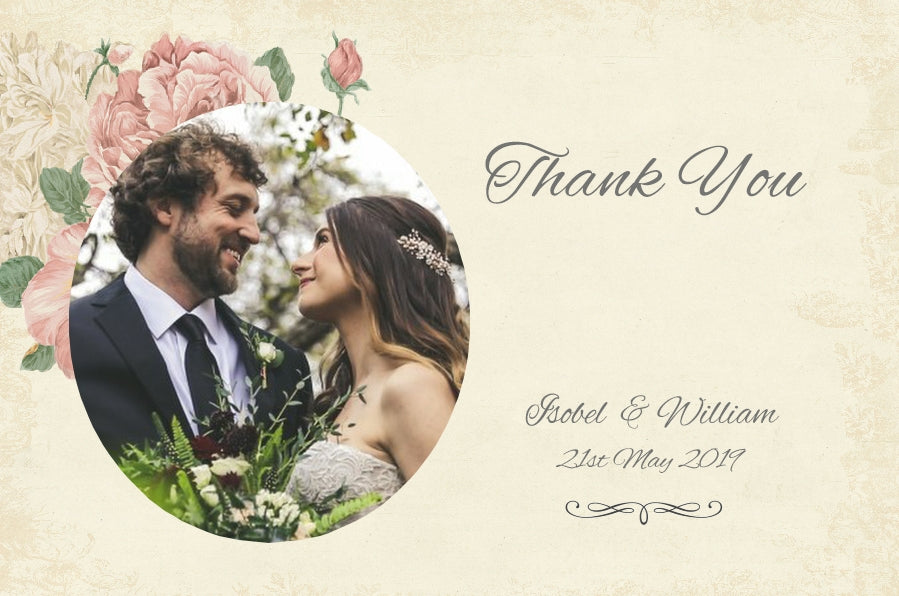 052 Rose Vintage Photo Thank You Cards