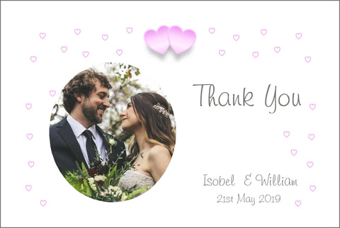 055 Pink Hearts Photo Thank You Cards
