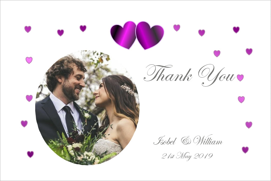 061 Purple Hearts Photo Thank You Cards