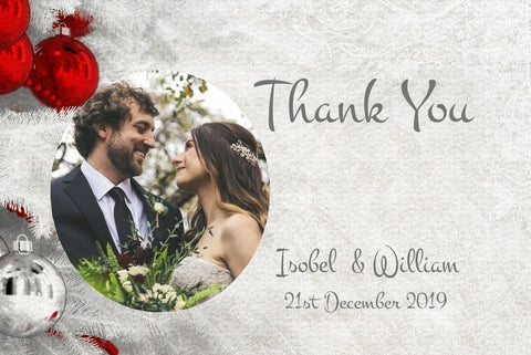 063 Red Baubles Photo Thank You Cards