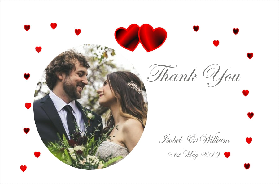 064 Red Hearts Photo Thank You Cards