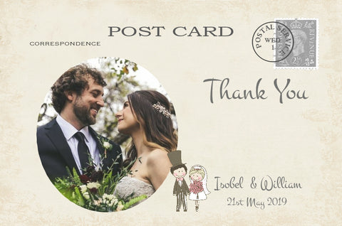 071 Shabby Couple Photo Thank You Cards