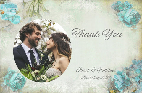 074 Blue Corners Photo Thank You Cards