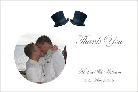 081 Top Hats Photo Thank You Cards