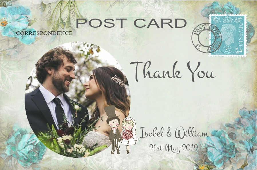 082 Turquoise Floral Photo Thank You Cards
