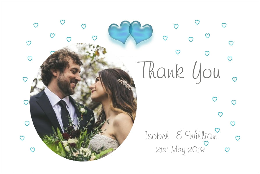 086 Turquoise Hearts Photo Thank You Cards