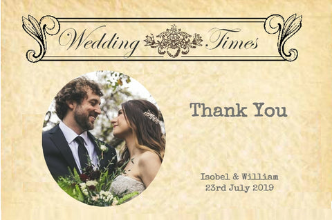 089 Wedding News Photo Thank You Cards