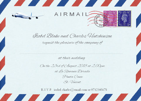 033 Airmail Wedding Invitations