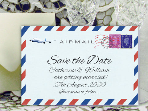 033 Airmail Save the Date Card