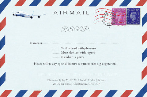 033 Airmail R.S.V.P. Cards