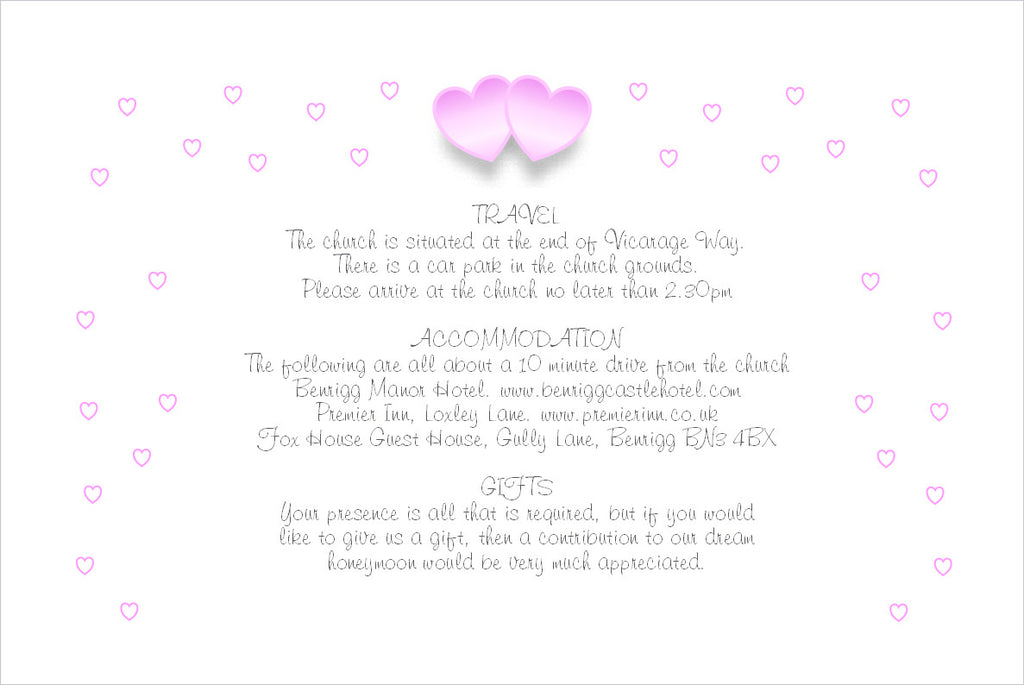 055 Pink Hearts Information Cards