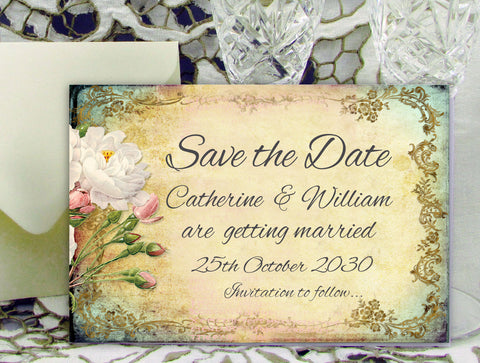 016 Flower Filigree Save the Date Card