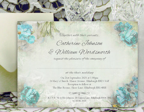 074 Blue Corners Wedding Invitations