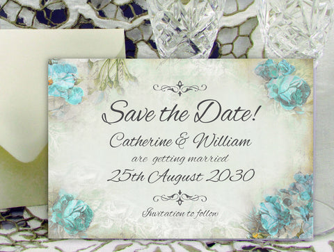 074 Blue Corners Save the Date Card