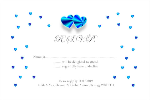 008 Blue Hearts R.S.V.P. Cards