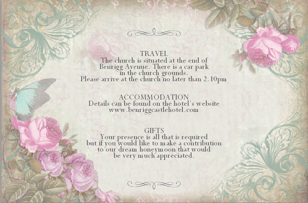 062 Butterfly Pink Flower Information Cards