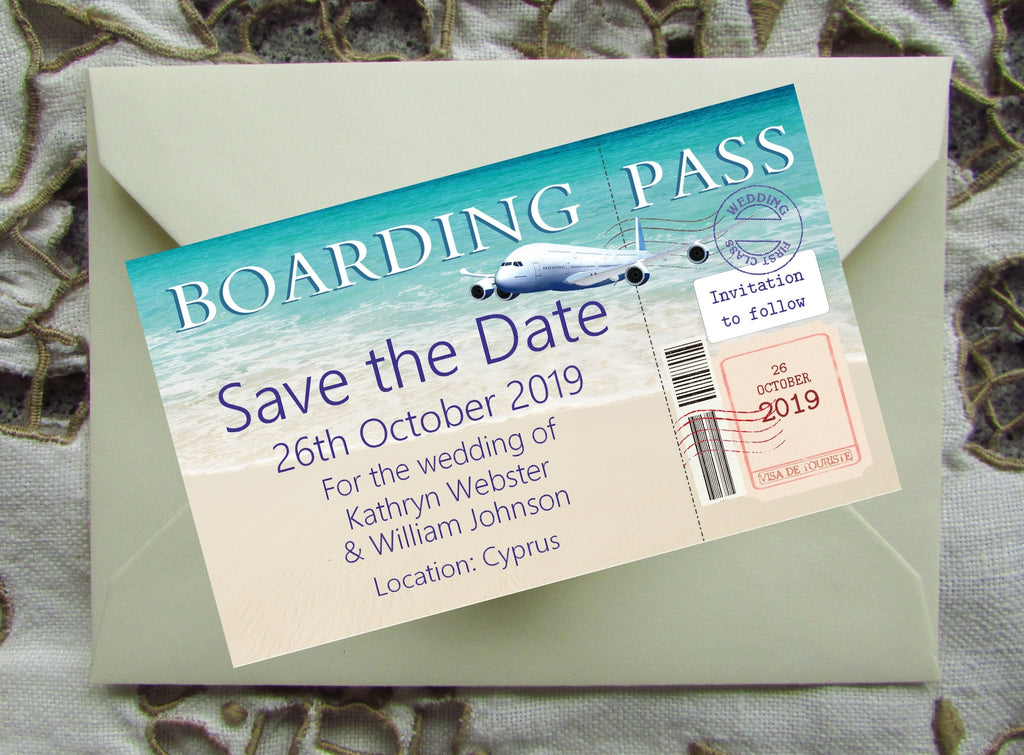 094 Boarding Pass Save the Date Magnet