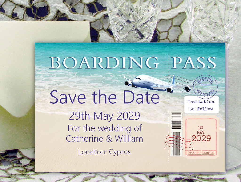 094 Boarding Pass Save the Date Card