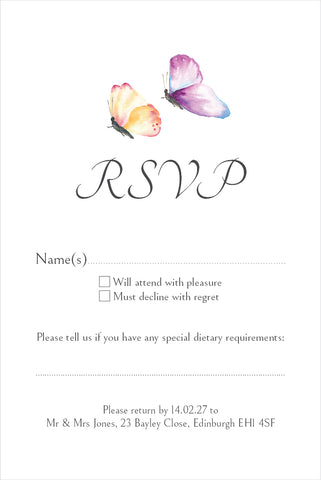010 Butterfly Wedding R.S.V.P. Cards