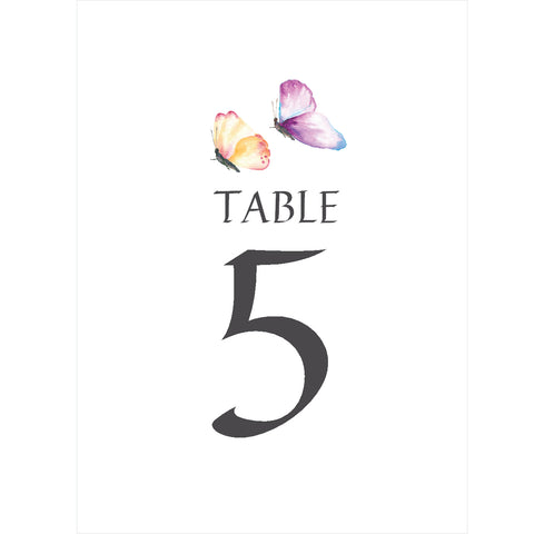 010 Butterfly Table Number Cards