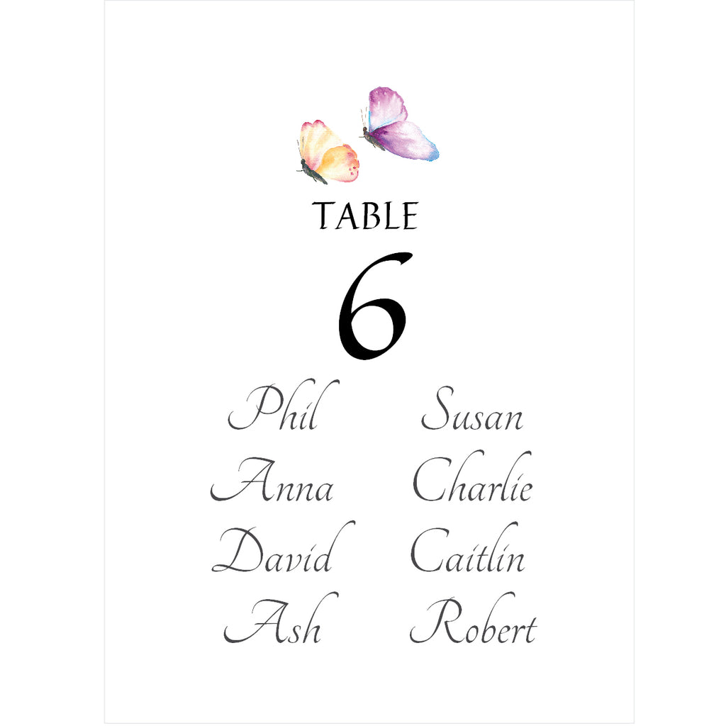 010 Butterfly Seating Plan Cards