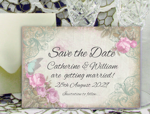 054 Pink Flower Butterfly Save the Date Card