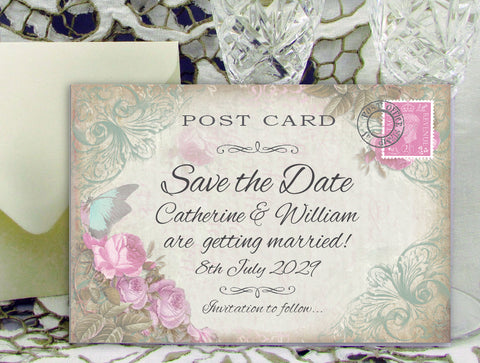 062 Butterfly Pink Flowers Save the Date Card