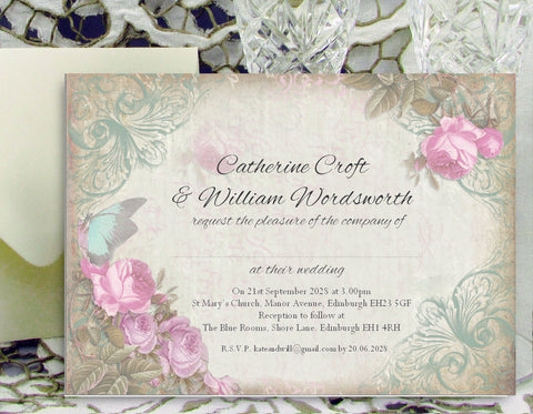 054 Pink Flower Butterfly Wedding Invitations