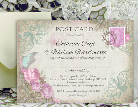 062 Butterfly Pink Flower Wedding Invitations