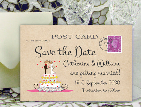 087 Wedding Cake Couple Save the Date Card