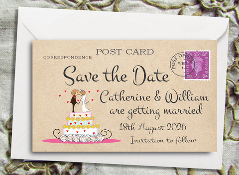 087 Wedding Cake Couple Save the Date Magnet