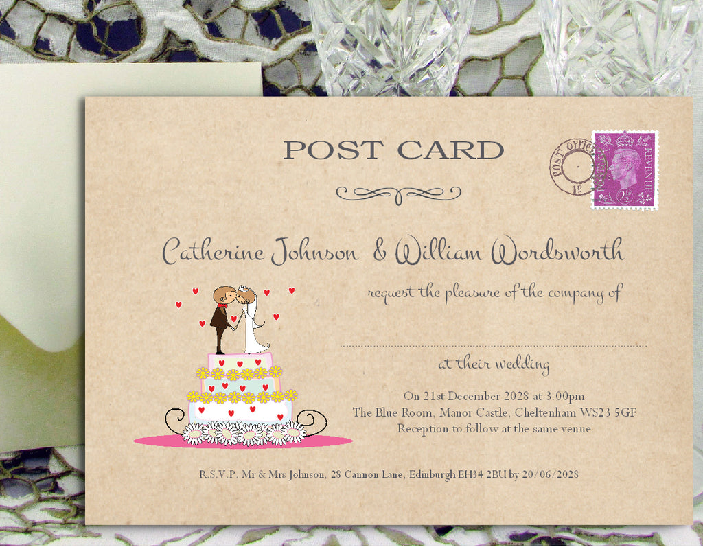 087 Wedding Cake Couple Wedding Invitations