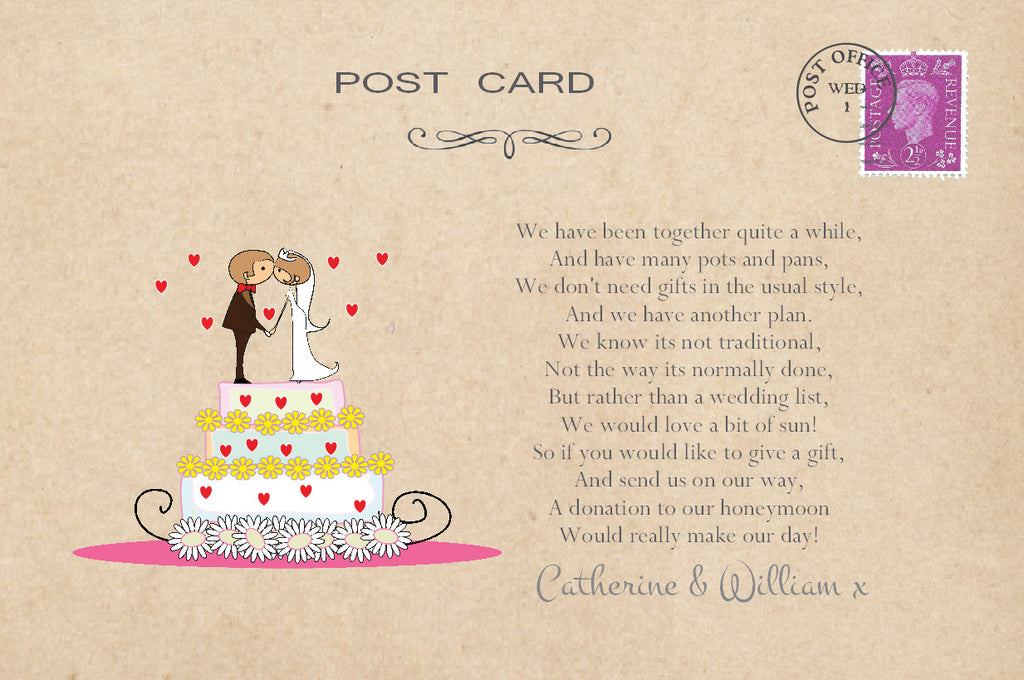 087 Wedding Cake Couple Poem Cards