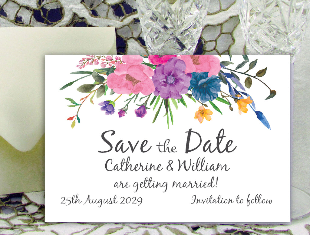 045 Flower Bouquet Save the Date Card