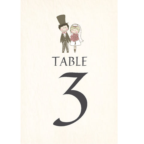 038 Cute Couple Upright Table Number Cards