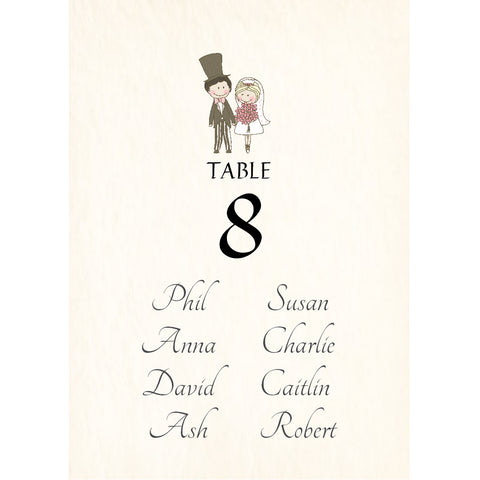 038 Cute Couple Upright Seating Plan Cards