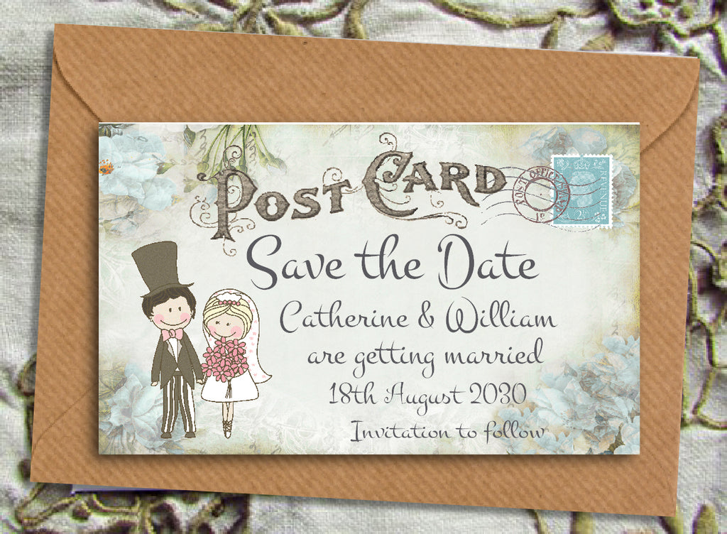 082 Turquoise Floral Save the Date Magnet