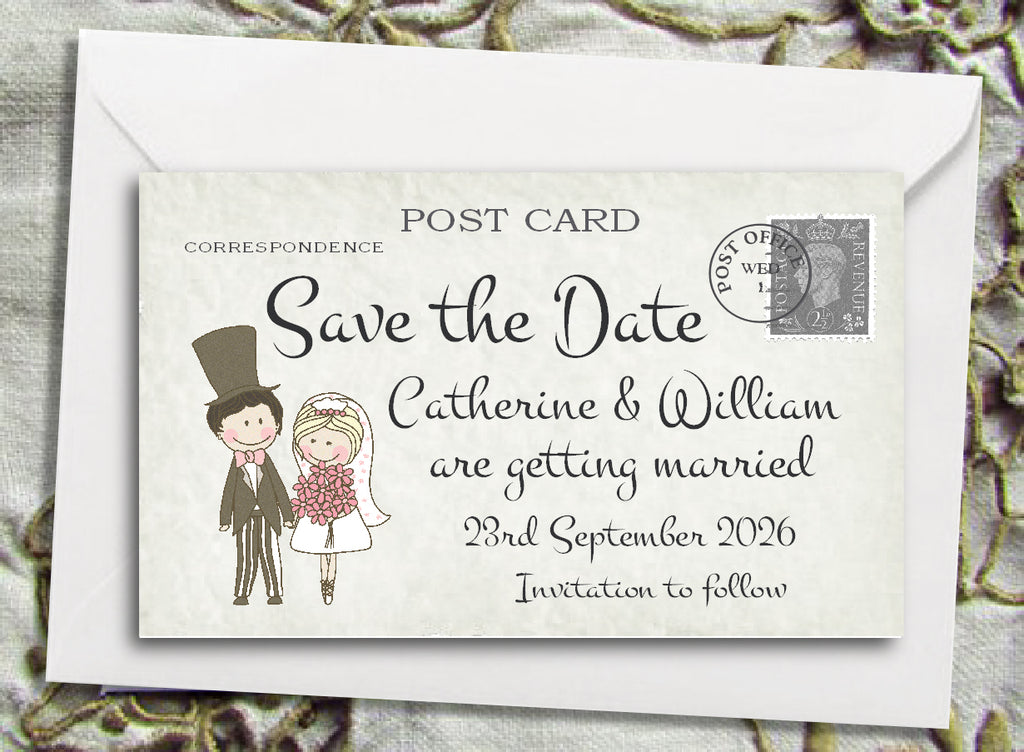 071 Shabby Chic Couple Save the Date Magnet