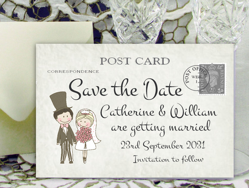 071 Shabby Chic Couple Save the Date Card